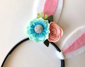 Felt bunny rabbit ear headband - mint and peach flowers with green leaves