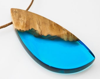 Blue Resin and Wood Pendant; Wood and Resin Jewelry, Wood and Resin Pendant, Resin Jewelry