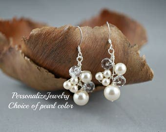 Bridal earrings, Bridesmaid earrings, Wedding earrings, Bridal party gift, Swarovski crystal pearl, One of a kind earrings, Handmade