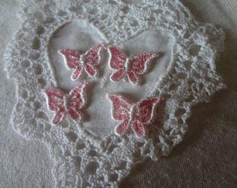 Pink Butterfly Sew On Appliques Vintage Dead Stock Never Used