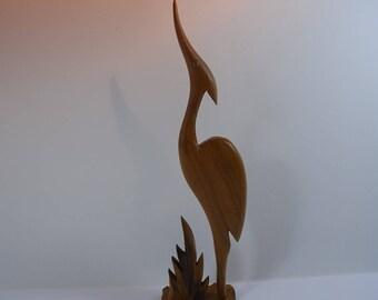 Vintage Heron/Crane/Egret Stylised Wooden Bird Statue, Mid-Century Wooden Bird Figurine, Retro Wooden Ornament, Home Decor