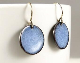 Enamel Earrings, Vitreous Enamel, Blue Enameled Copper, Starry Night, Beach Glass