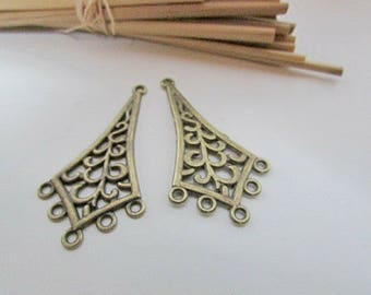 4 connector chandelier earring 4.6 cm long bronze colored metal, silver