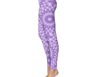 Yoga Bottoms - Amethyst Yoga Leggings, Mid Rise Waist Workout Pants in Purple and White