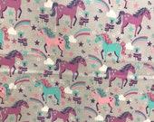 Gray fantasy unicorn fabric, unicorn, fantasy, whimsical fabric, cotton fabric, fairytale fabric, pink unicorn, rainbow