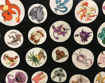 Pokemon Pikachu & friends black fabric, geek fabric, cartoon fabric, gamer fabric, licensed fabric, Pokémon