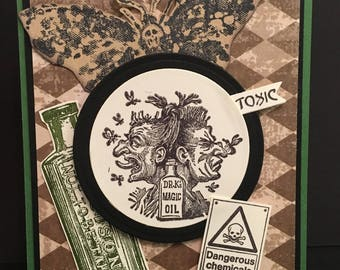 Halloween Card 3D Pop Up Toxic Poison Dr. K's Magic Oil Two Faced Potions Stampin Up OOAK Mixed Media Handmade