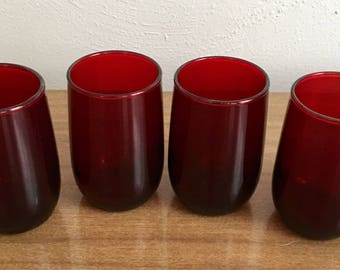 Four Vintage Ruby Red Juice Glasses