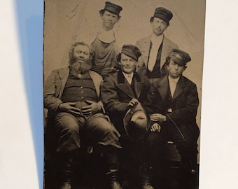 Unusual Multi-Occupational Family Tintype, Men in Uniform, 19th Century Antique Photograph