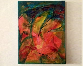 Original Abstract Art, Turquoise Pink Painting on Canvas in 30x40cm / 12x16in #4