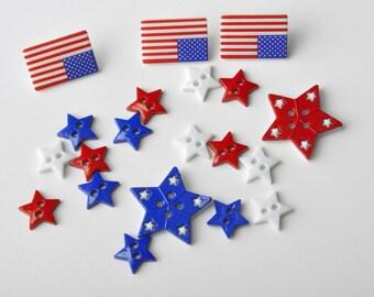 """Lot """"Dress it up"""" Patriotic shapes buttons."""