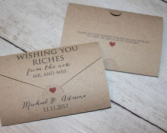 Personalised Wedding favour scratch card or lottery ticket holders- Wishing you riches TRA