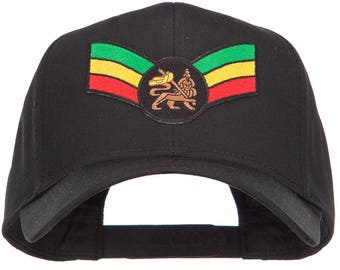 Crown Wing Lion Rasta Patched Cap