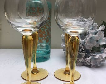 Set of Four 1970s Stunning Amber Stemmed Vintage Wine Glasses, Luminarc Stemware