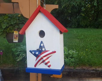 Red, White & Blue Bird House