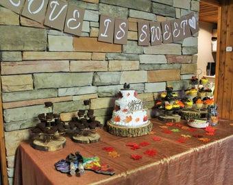 Wooden Slabs, wood cake stands, cedar wood decor, natural decor, woodlands theme, fall decor
