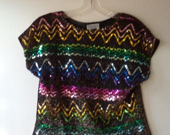 80s sequence top// Rainbow disco cocktail party New Years short sleeve// Copy Cats USA made// Women's small S