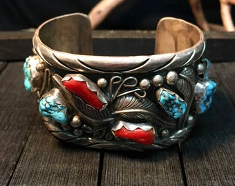 """Vintage Signed """"S JON"""" Sterling Silver/Turquoise & Red Coral Cuff Bracelet  #033"""