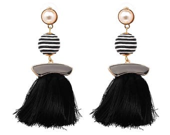 Bon Bon and Tassle Black Earrings