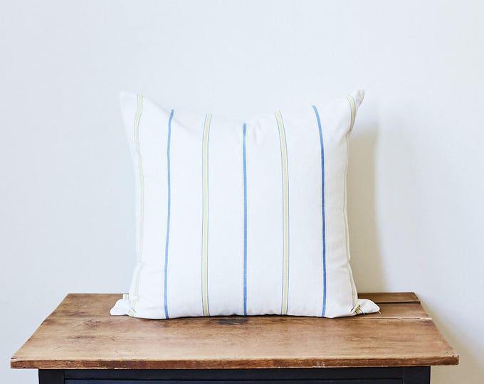 """Nautical Stripes + Neon Yellow Throw Pillow 20"""" x 20"""""""
