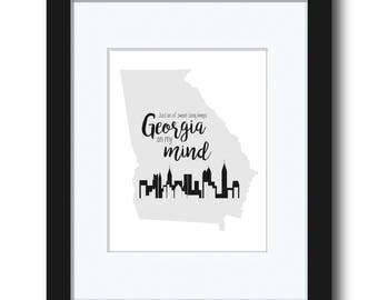 Georgia State Outline Art Print - Georgia on My Mind