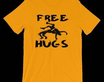 Wrestling Shirt, Free Hugs, Wrestling Gift, Wrestler Gift, Wrestler Clothing