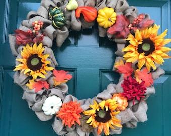 Handmade Fall Burlap Wreath; Fall Wreath; Sunflower Wreath; Handmade Wreath; Burlap Wreath