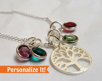 Family Tree Necklace, Valentine's gift for mom, personalized gift for mother, Birthday gift for her, mom birthstone necklace, mom gift mom