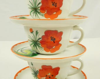 6 Piece 1950s 1960s Mid Century Modern Red Orange Poppy Flower Coffee Tea Cups & Saucers Mancioli Italy Easter Mothers Day Gardening Brunch