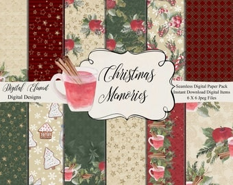 Christmas Watercolor Paper Pack, Christmas Paper, Hand Painted Digital Paper, Apple Cinnamon Sticks, Winter Greenery, Floral. No. P219