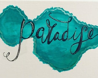 Maui, paradise, turquoise, beach, ocean, waves, vacation, calligraphy, brush lettered, metallic, prima metallic accents