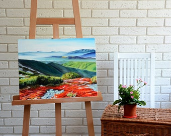 Mountains hand-painted hand-drawn exclusive oil Painting Carpathians 40x50 cm Wall decor Interior picture artwork green orange red gift idea