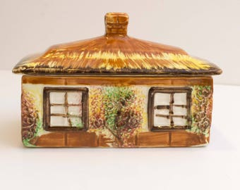 Vintage Ye Olde Cottage Price Kensington Butter Box and Lid Made in England
