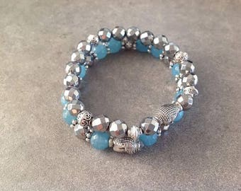 Please pair of anklets energised well-being blue sponge Quartz and silver Hematite faceted beads zen Buddha