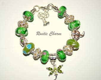 Green Dragonfly European Charm Bracelet with Glass Beads and Crystal Charms