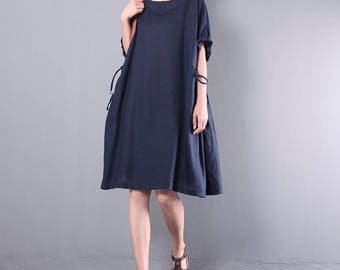 Women linen dress cotton tunic leisure dress pleated dress summer dress asymmetrical tunic dress plus size clothing