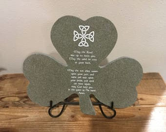 """May the Road rise up to meet you ... 12"""" x 13"""" Laser Engraved Corian Clover Home Decor"""