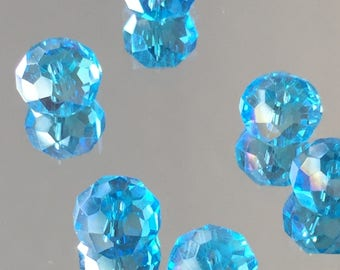 Blue Crystal Rondelle  Faceted Beads - Turquoise Blue AB Rondelles 8x5mm - Package of 20