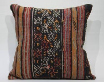 Black Plaid Vintage Turkish Kilim Pillow 20x20 Kilim Pillow,Decorative Pillow Embroidered Pillow Boho Pillow Large Floor Cushion 1225