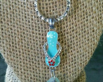 Lake Erie beach glass flip flop pendant with chain.