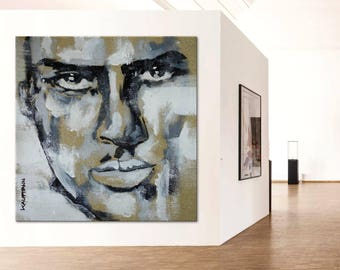 Portrait black & white  exclusive gallery art woman face eyes painting original unique modern art figurative