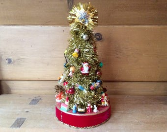 "Vintage Christmas Tinsel Tree Shiny Brites Santa 12"""