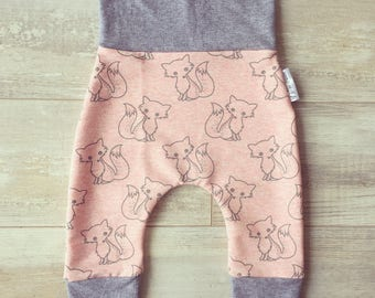 evolutionary pants * pale pink and grey foxes