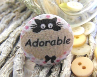 x 1 cabochon 22mm ti fabric ' adorable cat BOUT4