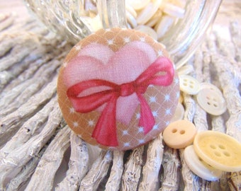 1 fabric button x 28mm heart bow pink and Brown BOUT2
