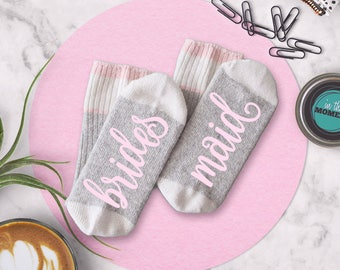 Maid of Honor Socks, Bridesmaid Socks, Bridal Party Gift Bridal Shower Photo Props, Hen Party Gift, Will You Be My Bridesmaid