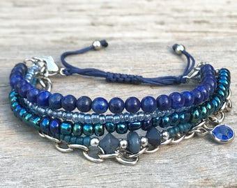 Stacker Bracelet, Blue Bracelet, Boho Bracelet, Stocking Filler, Beaded Bracelet, Gift for Her, Bracelet Set, Layering Bracelet, Small Gift