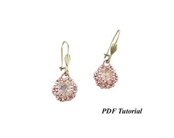 "DIY Tutorial, 8 mm Chaton Tutorial, Earrings Pattern, Seed Bead Pattern, Jewelry Tutorial, Beading Pattern, PDF Tutorial, ""Marie"" Earrings"