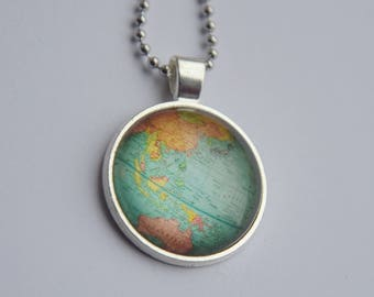 World map necklace etsy map necklace gumiabroncs Image collections