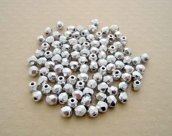 Set of 50 faceted silver 4 mm - F4 0428